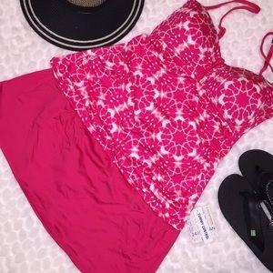 🏝24 & Ocean Pink Stars Tankini Skirt Swimsuit Set